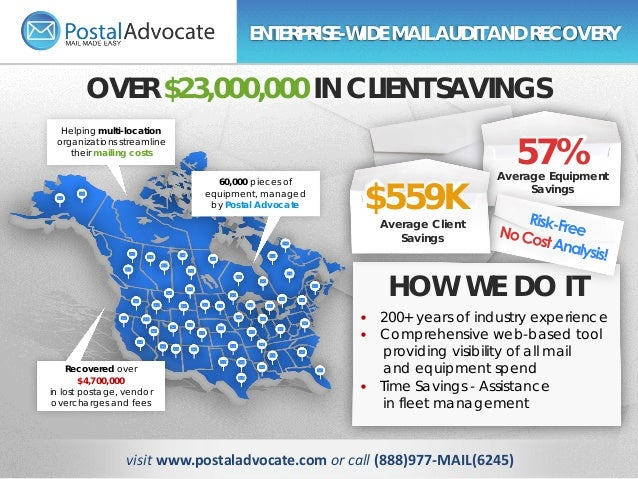 Helping multi-location organizations streamline their mailing costs 60,000 pieces of equipment, managed by Postal Advocate...