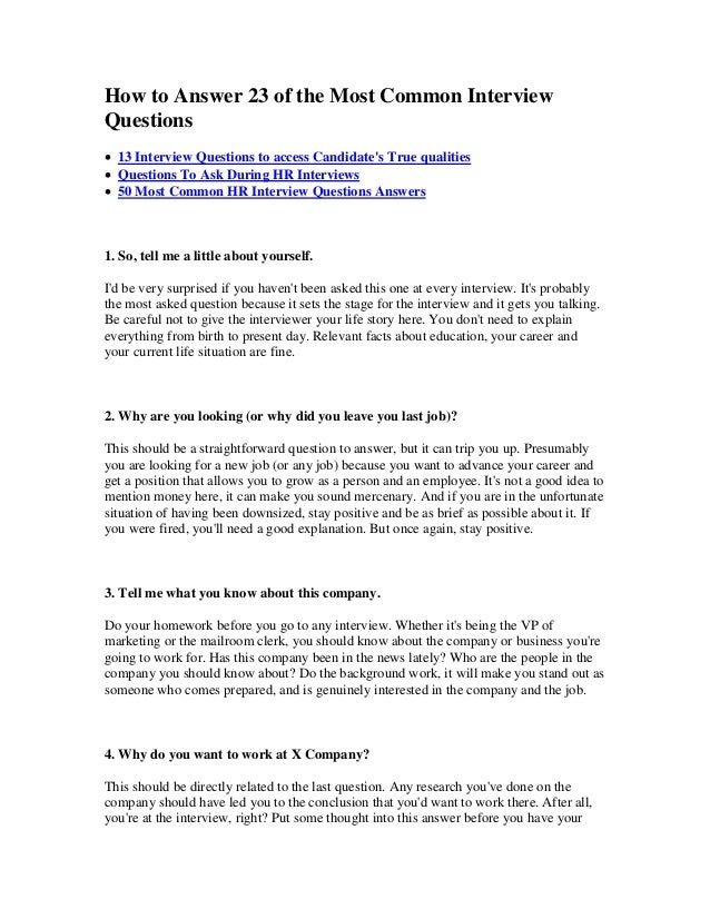 Delightful How To Answer 23 Of The Most Common Interview Questions  13 Interview  Questions To Access ...