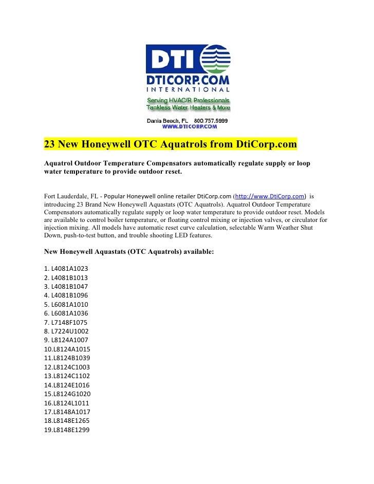23 New Honeywell OTC Aquatrols from DtiCorp.com Aquatrol Outdoor Temperature Compensators automatically regulate supply or...
