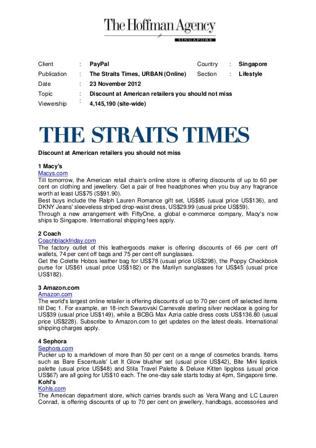 Client          :   PayPal                                      Country      :   SingaporePublication     :   The Straits ...