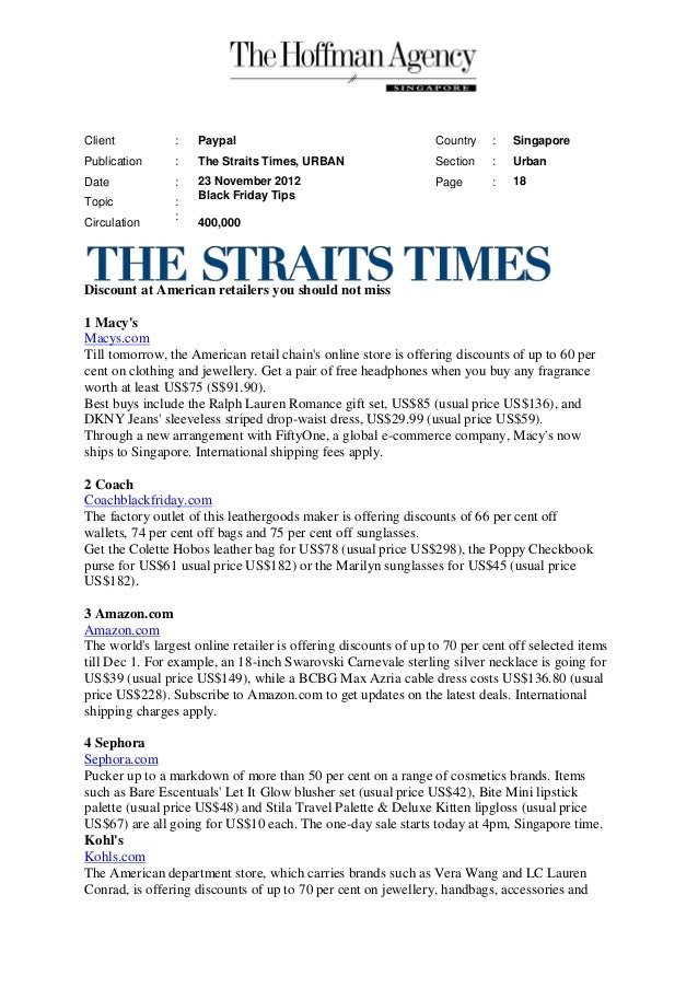 Client          :    Paypal                                      Country   :   SingaporePublication     :    The Straits T...
