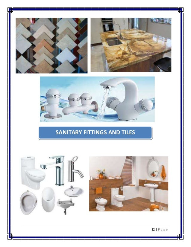 12 | P a g e  SANITARY FITTINGS AND TILES