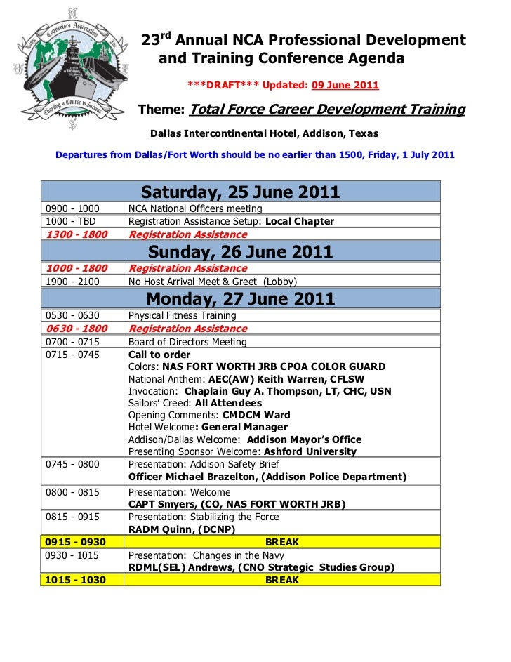 23rd Annual NCA Professional Development                      and Training Conference Agenda                              ...