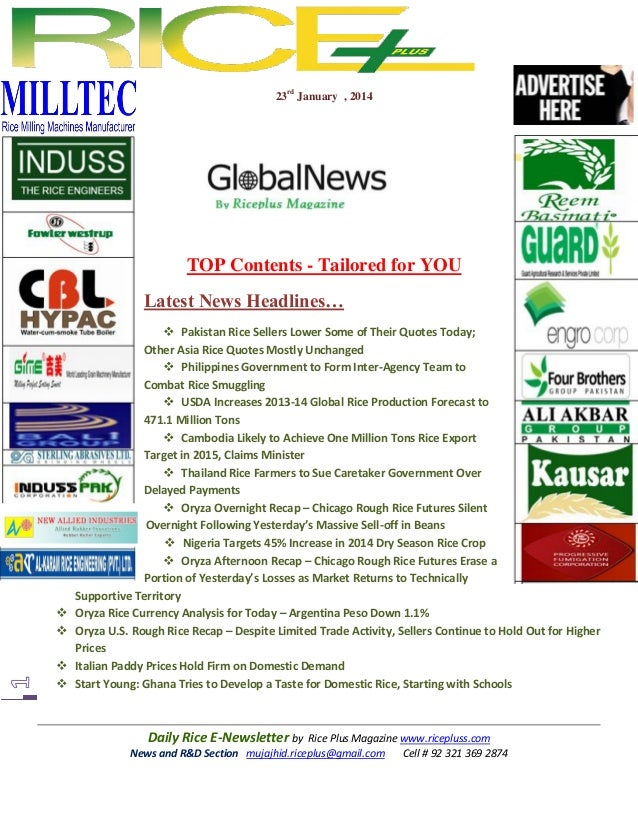 23rd January , 2014  TOP Contents - Tailored for YOU Latest News Headlines…        Pakistan Rice Sellers Lower Some o...
