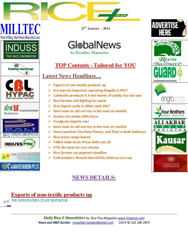 23rd January , 2014  TOP Contents - Tailored for YOU Latest News Headlines…                 Exports of non-...