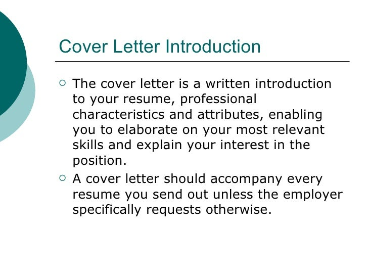 cover letter introduction - Resume Letter Of Introduction