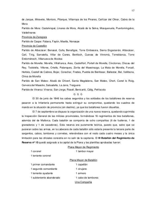 17  de Jarque, Miravete, Montoro, Pitarque, Villarroya de los Pinares, Cañízar del Olivar, Cabra de la Mora Partido de Mor...