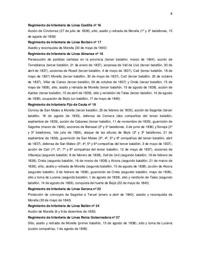 8  Regimiento de Infantería de Línea Castilla nº 16 Acción de Cinctorres (27 de julio de 1838), sitio, asalto y retirada d...