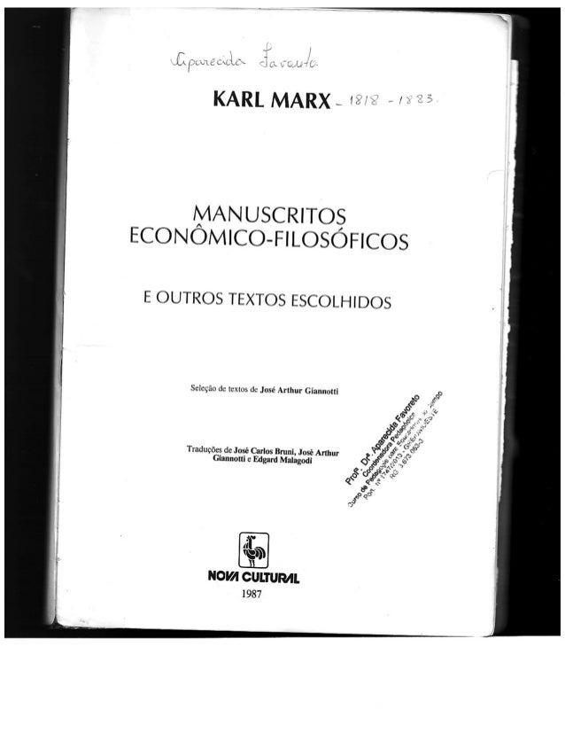_ . / l P  LL ¡fcug c' Ltfx : l , x rfp/ q T L;   KARL MARX - w:  ~   í*  MANuscRiTos ECONOMICO-FILOSOFICOS  E OUTROS TEXT...