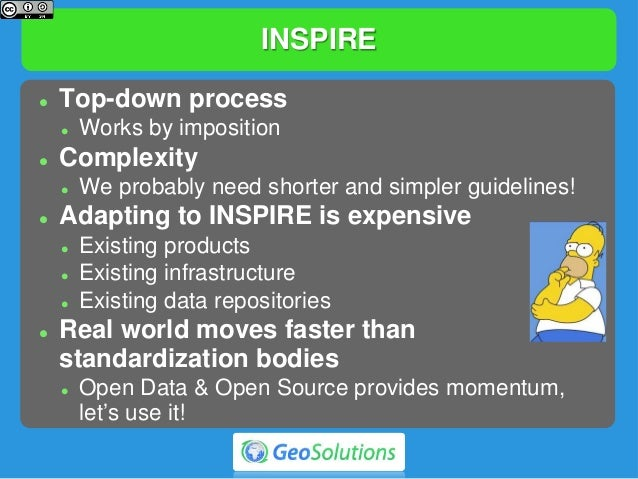 INSPIRE  Top-down process  Works by imposition  Complexity  We probably need shorter and simpler guidelines!  Adaptin...
