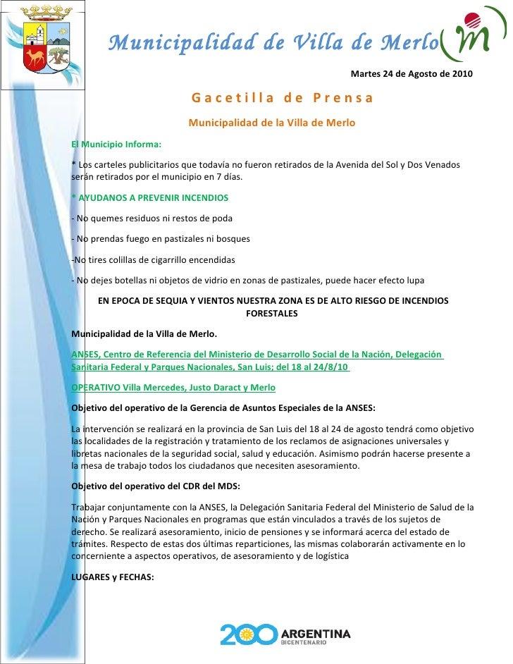 Municipalidad de Villa de Merlo                                                                      Martes 24 de Agosto d...