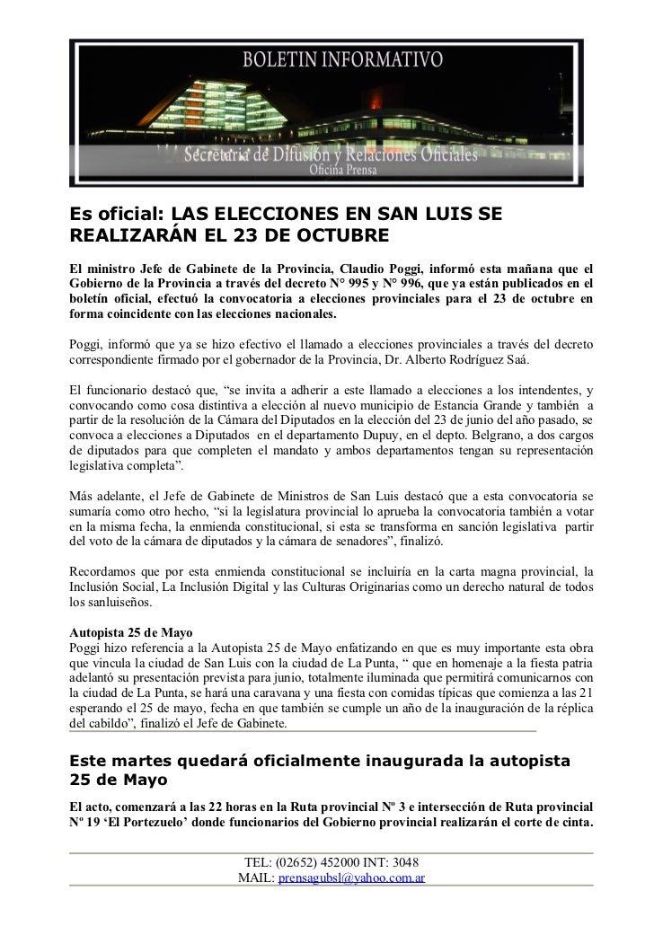 Es oficial: LAS ELECCIONES EN SAN LUIS SEREALIZARÁN EL 23 DE OCTUBREEl ministro Jefe de Gabinete de la Provincia, Claudio ...