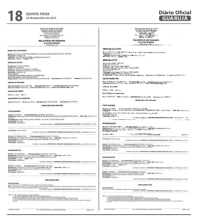 QUINTA-FEIRA 24 de dezembro de 2015 18 GUARUJÁ Diário Oficial