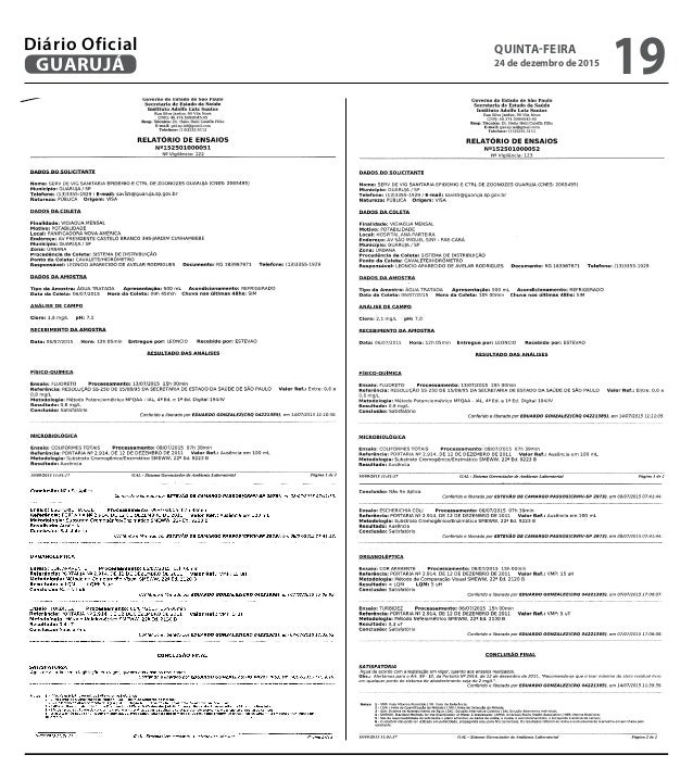 QUINTA-FEIRA 24 de dezembro de 2015 19GUARUJÁ Diário Oficial