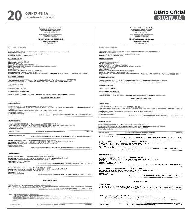 QUINTA-FEIRA 24 de dezembro de 2015 20 GUARUJÁ Diário Oficial