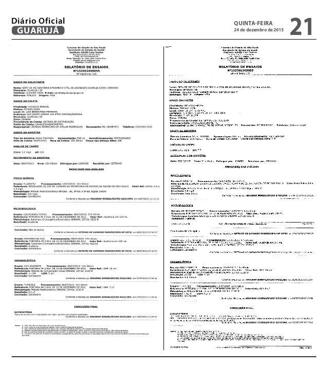 QUINTA-FEIRA 24 de dezembro de 2015 21GUARUJÁ Diário Oficial