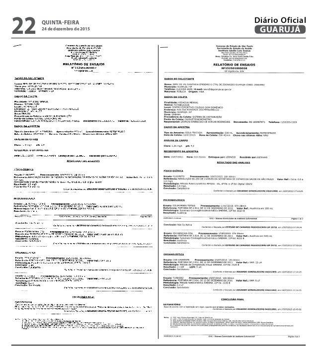 QUINTA-FEIRA 24 de dezembro de 2015 22 GUARUJÁ Diário Oficial