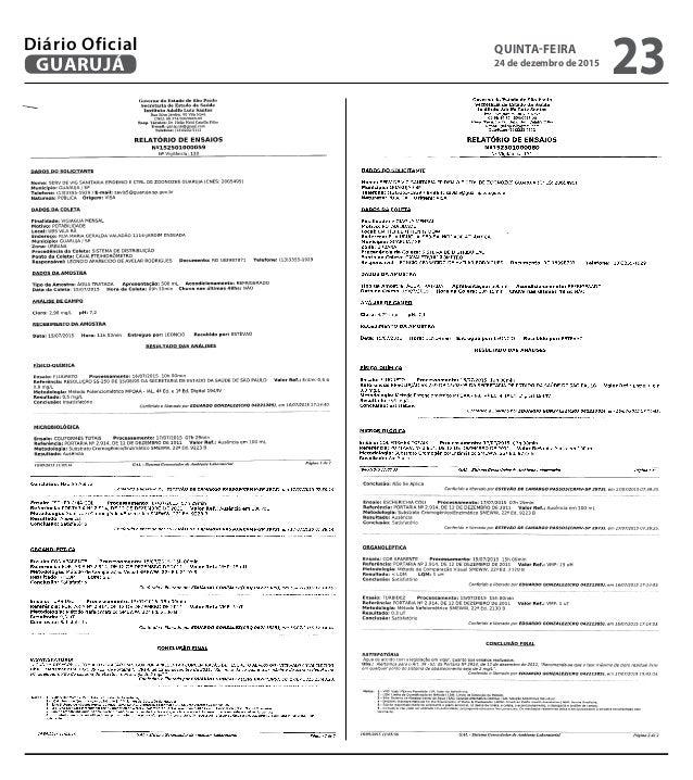 QUINTA-FEIRA 24 de dezembro de 2015 23GUARUJÁ Diário Oficial