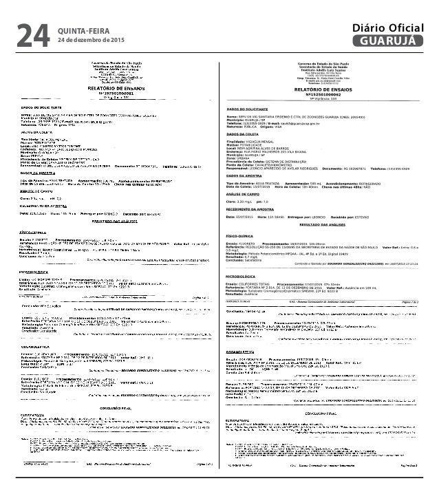 QUINTA-FEIRA 24 de dezembro de 2015 24 GUARUJÁ Diário Oficial