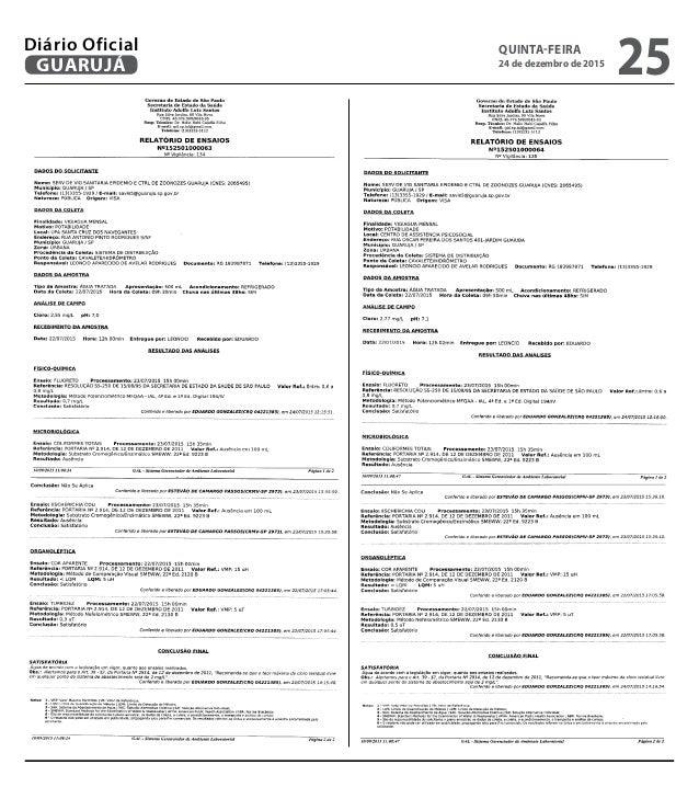 QUINTA-FEIRA 24 de dezembro de 2015 25GUARUJÁ Diário Oficial
