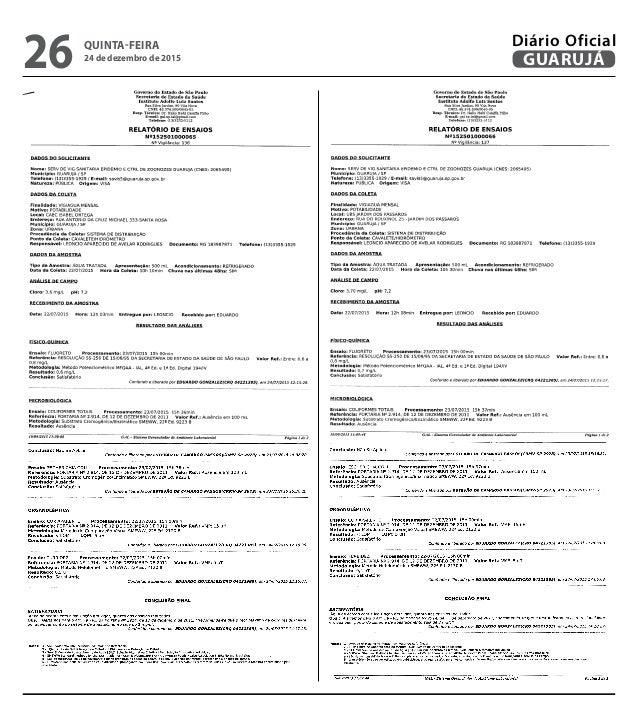 QUINTA-FEIRA 24 de dezembro de 2015 26 GUARUJÁ Diário Oficial