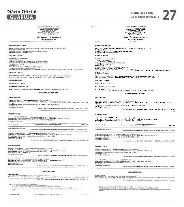 QUINTA-FEIRA 24 de dezembro de 2015 27GUARUJÁ Diário Oficial