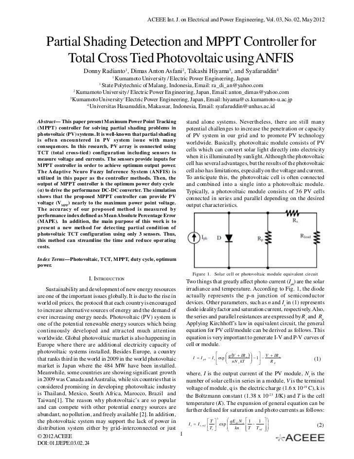 ACEEE Int. J. on Electrical and Power Engineering, Vol. 03, No. 02, May 2012    Partial Shading Detection and MPPT Control...
