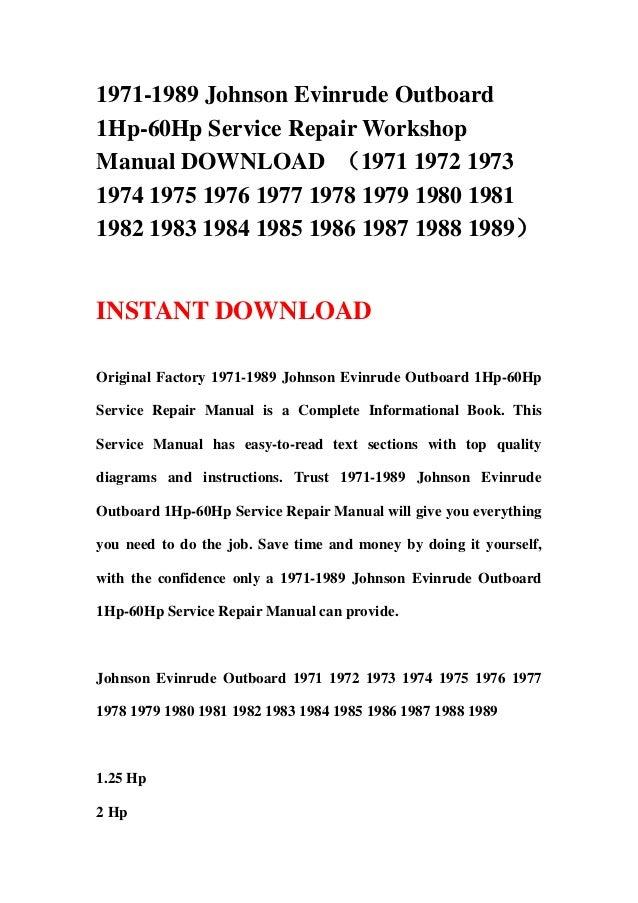 1971 1989 johnson evinrude outboard 1hp 60hp service repair workshop 1971 1989 johnson evinrude outboard1hp 60hp service repair workshopmanual (1971 1972 19731974