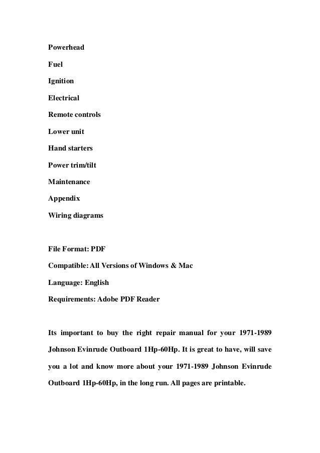 1971 1989 johnson evinrude outboard 1hp 60hp service repair workshop rh slideshare net 1985 Evinrude 1987 Evinrude