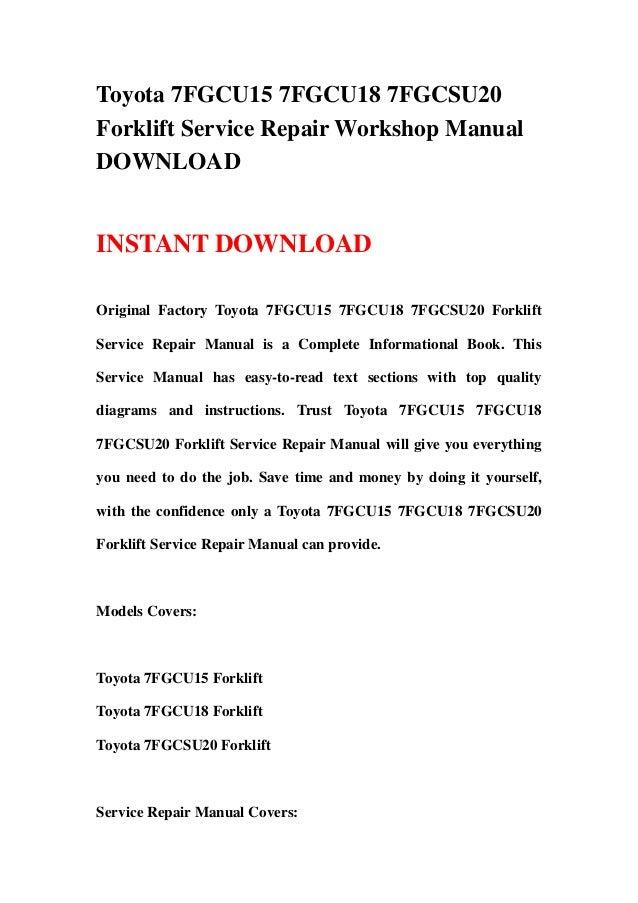 toyota forklift service manual download