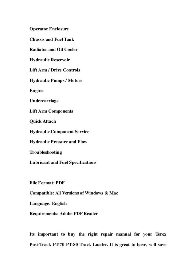 terex positrack pt70 pt80 track loader service repair workshop manual download 2 638?cb=1359366402 terex posi track pt 70 pt 80 track loader service repair workshop man terex pt80 wiring diagram at nearapp.co