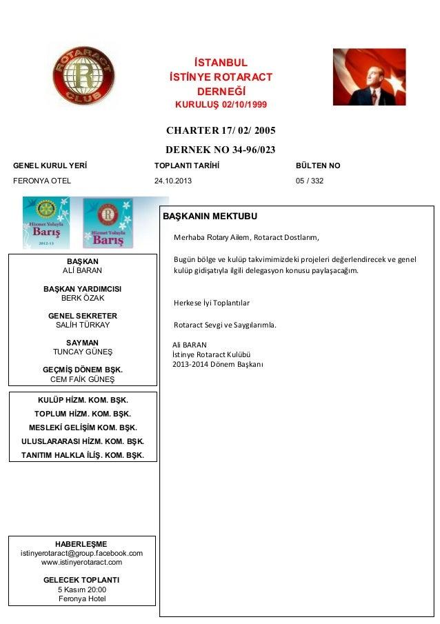 İSTANBUL İSTİNYE ROTARACT DERNEĞİ KURULUŞ 02/10/1999  CHARTER 17/ 02/ 2005 DERNEK NO 34-96/023 GENEL KURUL YERİ  TOPLANTI ...