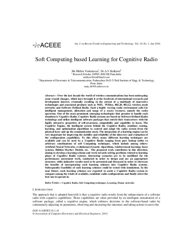 Int. J. on Recent Trends in Engineering and Technology, Vol. 10, No. 1, Jan 2014  Soft Computing based Learning for Cognit...