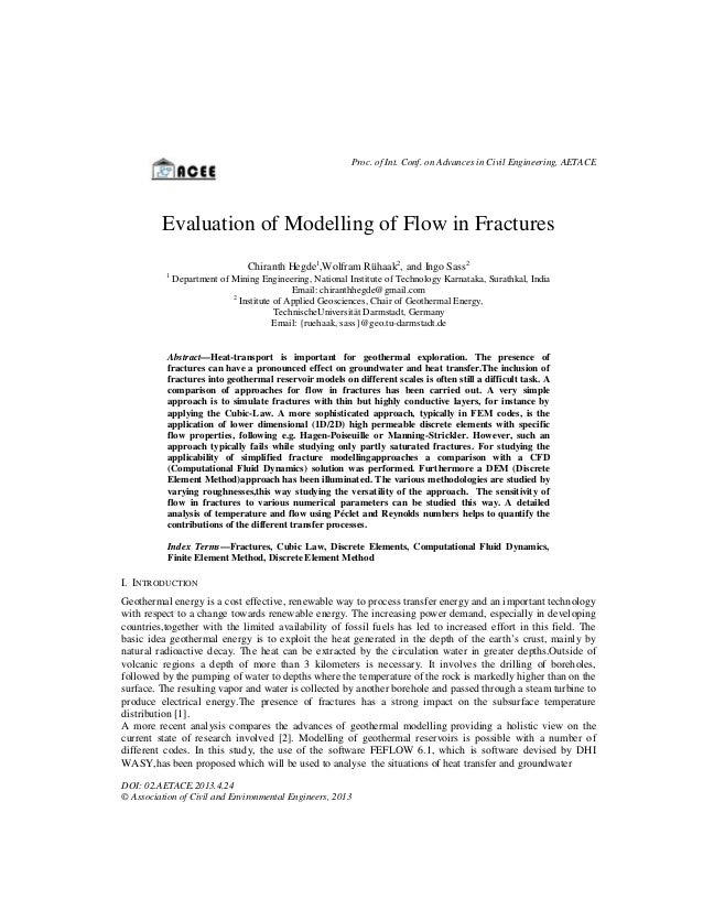 Proc. of Int. Conf. on Advances in Civil Engineering, AETACE  Evaluation of Modelling of Flow in Fractures Chiranth Hegde1...