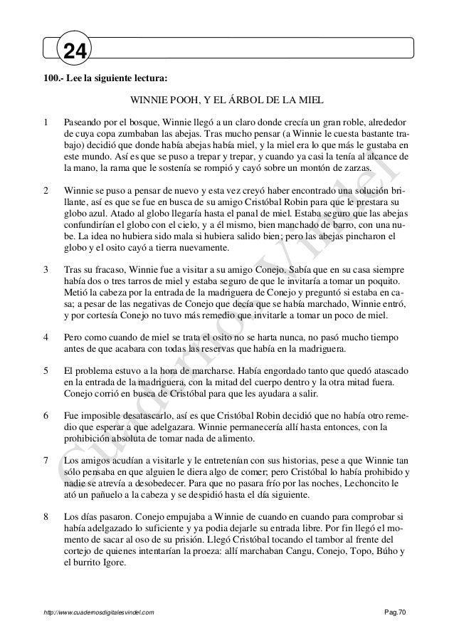 http://www.cuadernosdigitalesvindel.com Pag.70 100.- Lee la siguiente lectura: WINNIE POOH, Y EL ÁRBOL DE LA MIEL 1 Pasean...