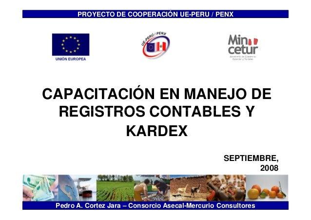 PROYECTO DE <<Titulo>>  COOPERACIÓN UE-PERU / PENX  CAPACITACIÓN EN MANEJO DE  REGISTROS CONTABLES Y  KARDEX  SEPTIEMBRE, ...
