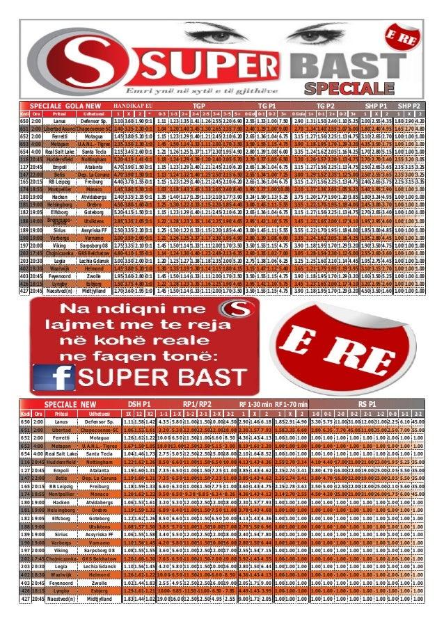 SPECIALE NEW DSH P1 RP1/RP2 RF 1-30 min RF 1-70 min RS P1 Kodi Ora Pritesi Udhetuesi 1X 12 X2 1-1 1-X 1-2 2-1 2-X 2-2 1 X ...