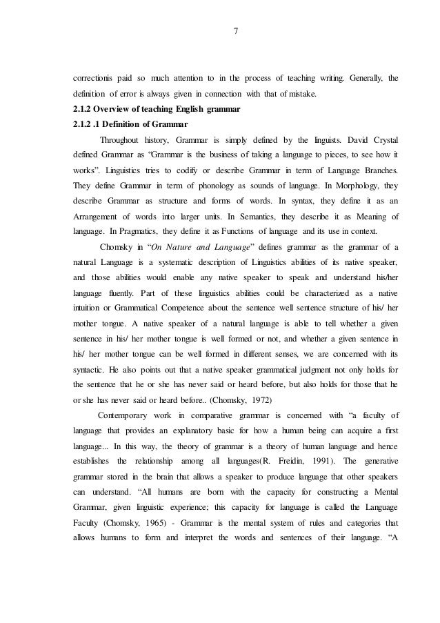 thesis on english grammar Of english grammar for the twelfth grade students presented by  the completion of my master study and this thesis was made possible and pleasant.