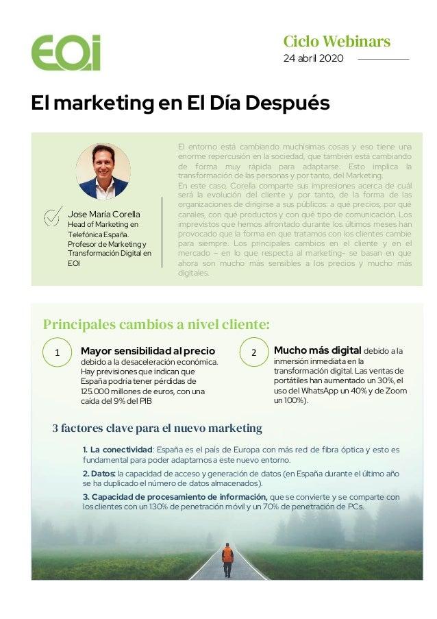 Ciclo Webinars. 24 abril 2020 El marketing en El Día Después Jose María Corella Head of Marketing en Telefónica España. Pr...
