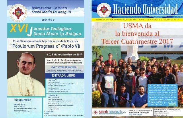 Universidad Católica Santa María La Antigua / 3ra. Etapa / Año 2017 / del 28 de agosto al 1 de septiembre / No. 77 USMA da...