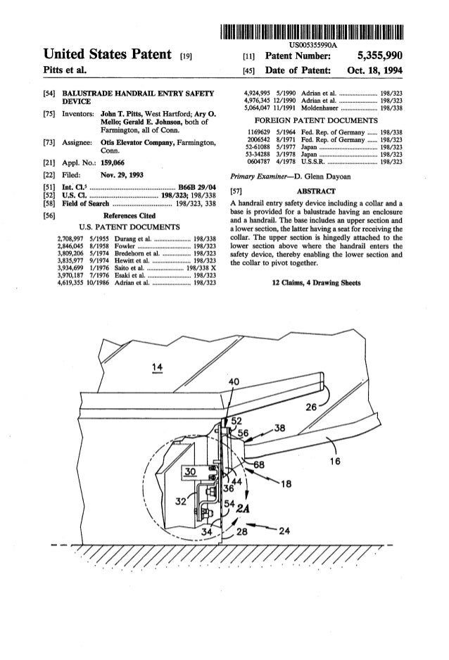 United States Patent £191 Pitts et al. [54] BALUSTRADE HANDRAIL ENTRY SAFETY DEVICE [75] Inventors: John T. Pitts, West Ha...