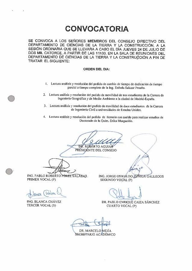 CONVOCATORIA  SE CONVOCA A LOS SENORES MIEMBROS DEL CONSEJO DIRECTIVO DEL DEPARTAMENTO DE CIENCIAS DE LA TIERRA Y LA CONST...