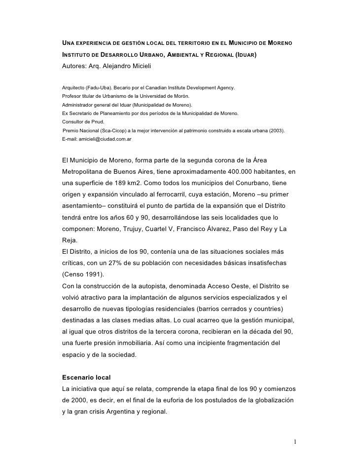 UNA EXPERIENCIA DE GESTIÓN LOCAL DEL TERRITORIO EN EL MUNICIPIO DE MORENOINSTITUTO DE DESARROLLO URBANO, AMBIENTAL Y REGIO...