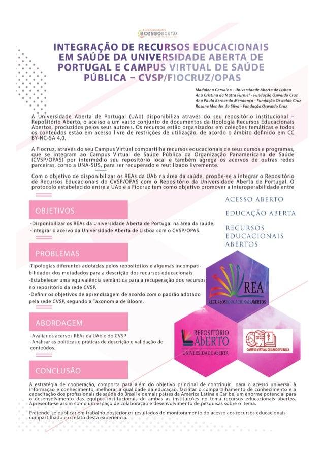 Integração de recursos rducacionais em saúde da Universidade Aberta de Portugal e campus virtual de saúde pública – CVSP/F...