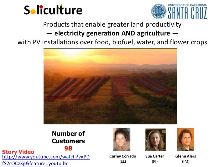S liculture              Products that enable greater land productivity               — electricity generation AND agricul...