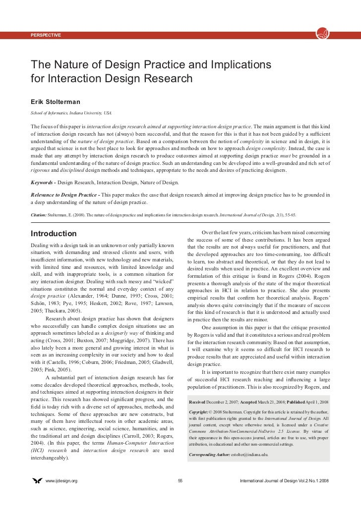 PerspectiveThe Nature of Design Practice and Implicationsfor Interaction Design ResearchErik StoltermanSchool of Informati...