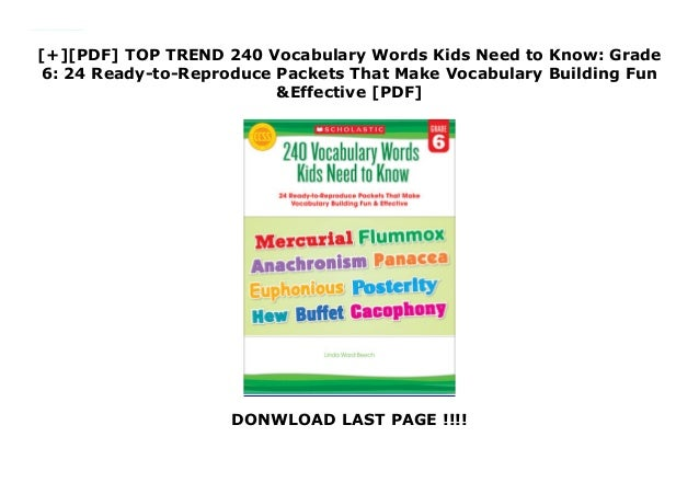 PDF] TOP TREND 240 Vocabulary Words Kids Need to Know: Grade 6: 2…