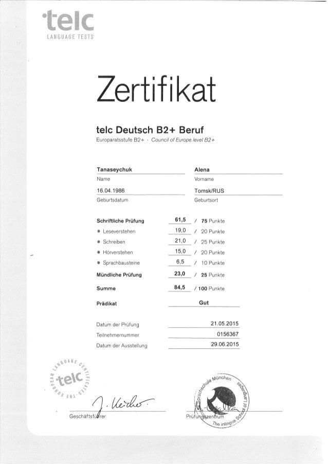 Alyona Tanaseychukb2 Beruf Deutsch Telc Zertifikat