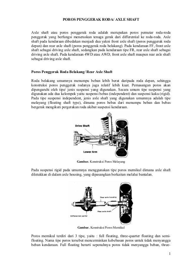 POROS PENGGERAK RODA/ AXLE SHAFTAxle shaft atau poros penggerak roda adalah merupakan poros pemutar roda-rodapenggerak yan...