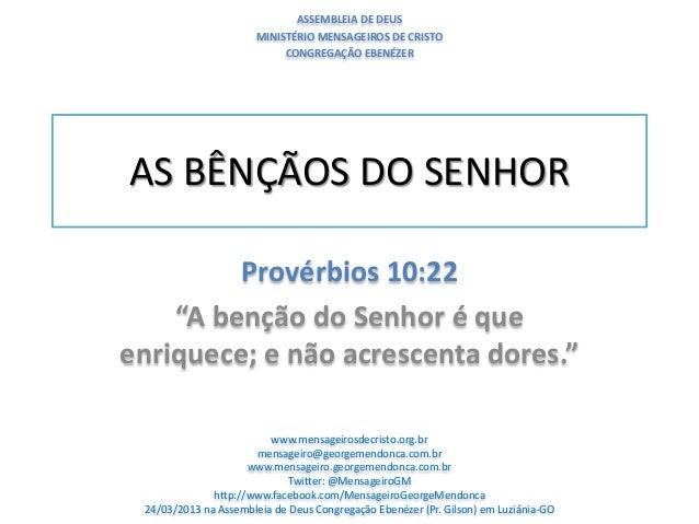 ASSEMBLEIA DE DEUS                       MINISTÉRIO MENSAGEIROS DE CRISTO                            CONGREGAÇÃO EBENÉZERA...